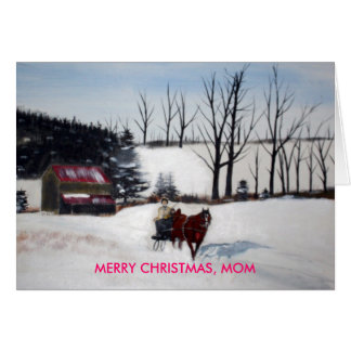 MOTHER AND DAUGHTER , MERRY CHRISTMAS, MOM GREETING CARD
