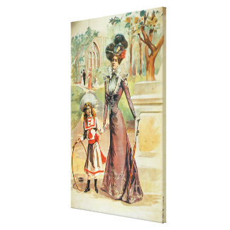 Mother and daughter on a walk (colour litho) canvas print