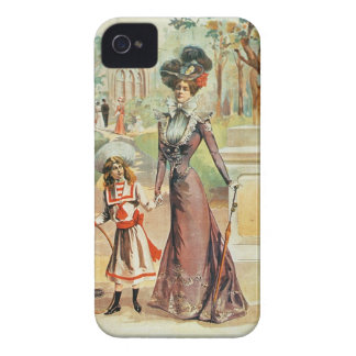 Mother and daughter on a walk colour litho iPhone 4 covers