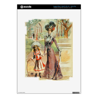 Mother and daughter on a walk (colour litho) iPad 3 decals