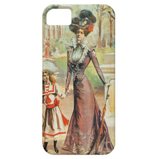 Mother and daughter on a walk (colour litho) iPhone SE/5/5s case