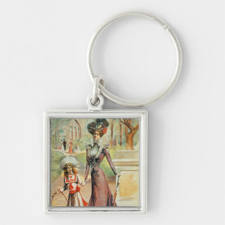 Mother and daughter on a walk (colour litho) key chain