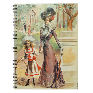 Mother and daughter on a walk (colour litho) spiral notebook