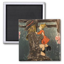 Mother and Daughter on the Farm Magnet
