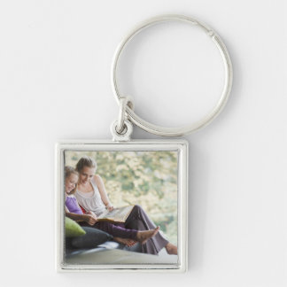 Mother and daughter reading storybook keychains