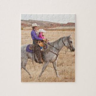 Mother and daughter riding horse puzzles