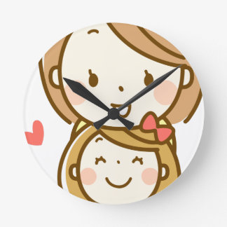 Mother and Daughter Round Clock