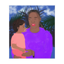 Mother and Daughter Stretched Canvas Print