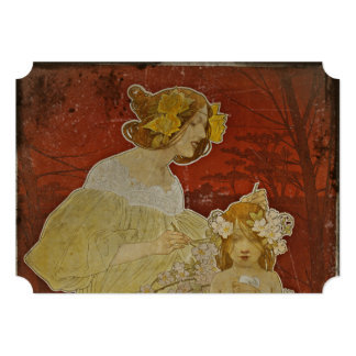Mother and Daughter with Flowers Card