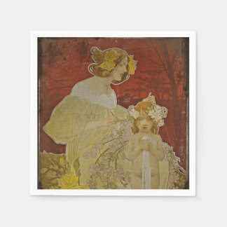 Mother and Daughter with Flowers Napkin