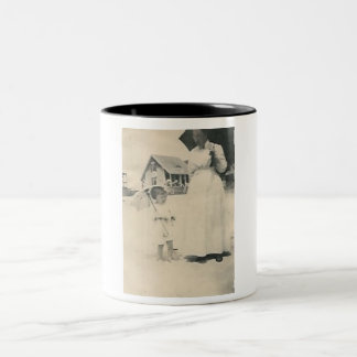 mother and daughter with parasols mug