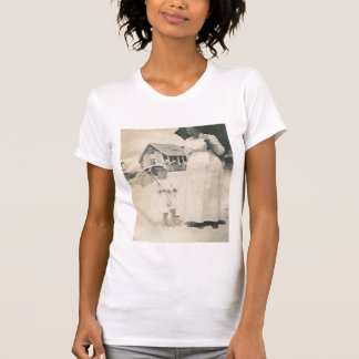 mother and daughter with parasols t-shirt