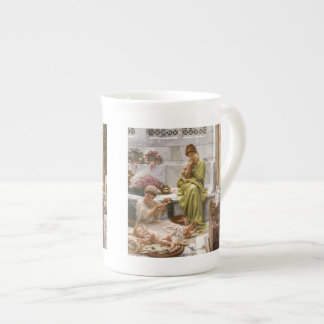 Mother and Daughters with Flowers Tea Cup