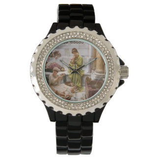 Mother and Daughters with Flowers Wrist Watch