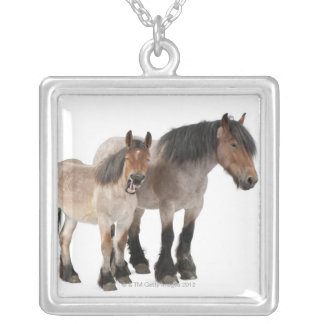 Mother and foal smiling, Belgian horse, Belgian Silver Plated Necklace
