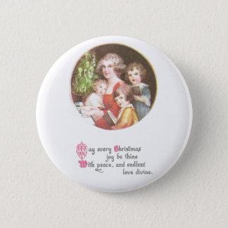 Mother and Kids Sing Carols Vintage Christmas Pinback Button