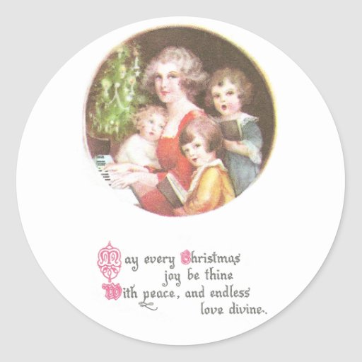 Mother and Kids Sing Carols Vintage Christmas Round Sticker