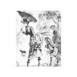 Mother and Little Girl in Rain with Umbrella Sketc Stretched Canvas Prints