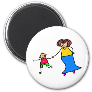 Mother And Son 2 Inch Round Magnet