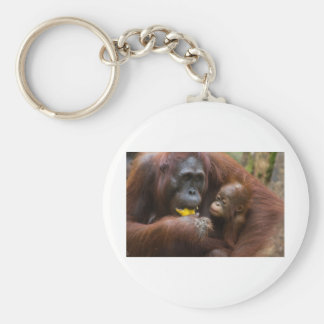 Mother and son basic round button keychain