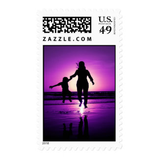 Mother and son Child Beach Jumping Postage