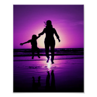 Mother and Son Child Beach Jumping Poster