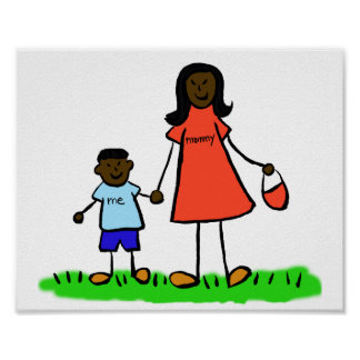 Mother and Son Custom Family Characters Art Poster