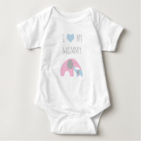 Mother and son elephants - I love my mommy Baby Bodysuit