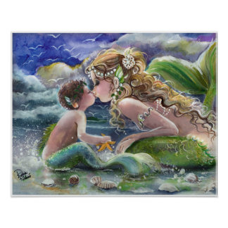 Mother and Son, Mermaids on the Beach Poster