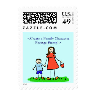 Mother and Son Personalized Family Postage Stamps