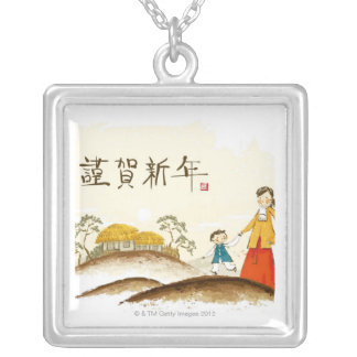 Mother and Son Silver Plated Necklace