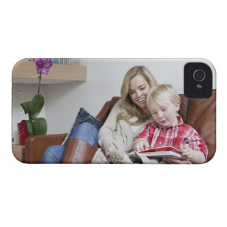 Mother and son sitting on sofa together iPhone 4 Case-Mate cases