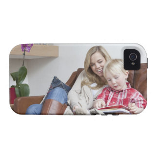 Mother and son sitting on sofa together iPhone 4/4S cases