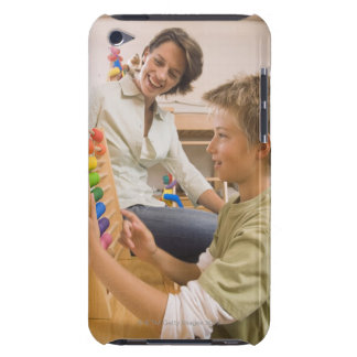Mother and son using abacus barely there iPod case