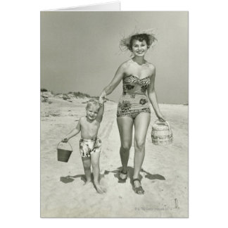 Mother and Son Walking Greeting Card