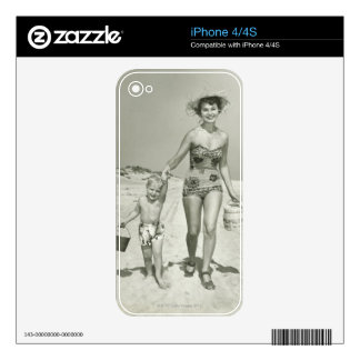 Mother and Son Walking iPhone 4 Decals