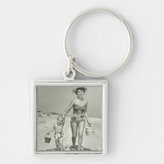 Mother and Son Walking Keychain