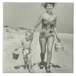 Mother and Son Walking Large Square Tile