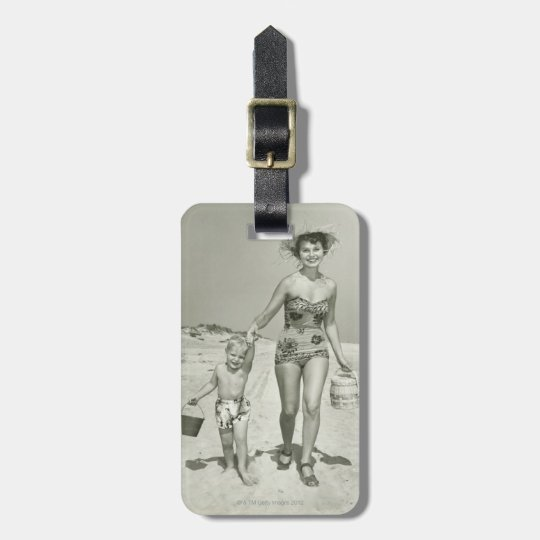 Mother and Son Walking Luggage Tag