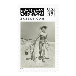 Mother and Son Walking Postage
