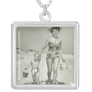 Mother and Son Walking Silver Plated Necklace