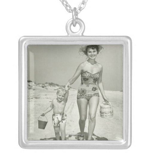 Mother and Son Walking Square Pendant Necklace
