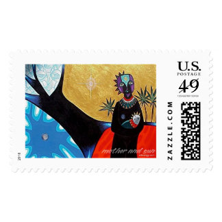 Mother and Sun by Gregory Gallo Postage Stamps