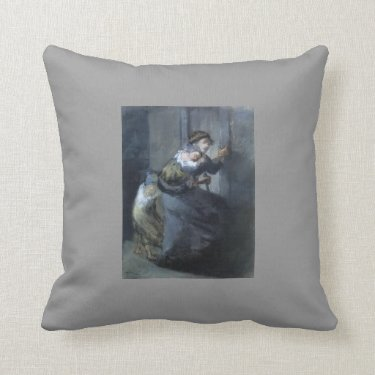 Mother and Two Infants by Jean-Francois Millet Throw Pillows