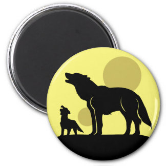 Mother and Wolf Pup Magnet