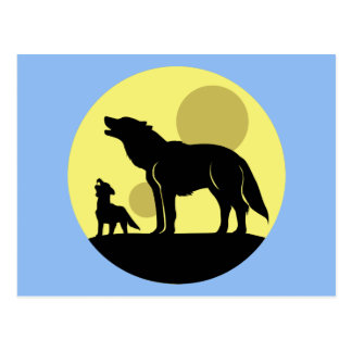 Mother and Wolf Pup Postcard