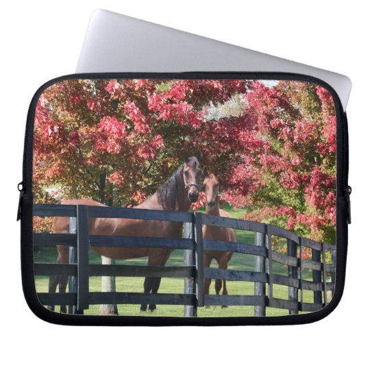 Mother and young horse laptop sleeve