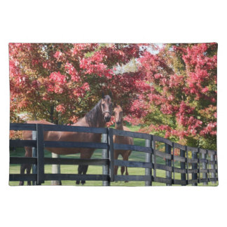 Mother and young horse cloth placemat