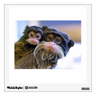 Mother and Young Monkey - Wall Decal Square