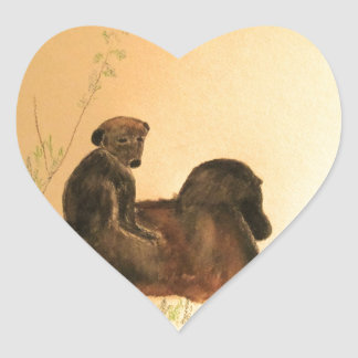 Mother & Baby Baboons - Wildlife Monkeys Primates Heart Sticker